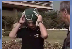 CBS News Iraqi War Vet removes ProtectaCap+Plus® helmet to show where skull is missing following cranial surgery
