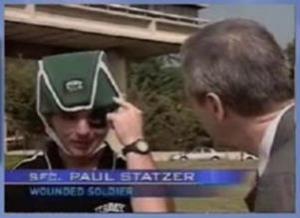 CBS News Iraqi War Vet points to where skull is missing under ProtectaCap+Plus® helmet after cranial surgery